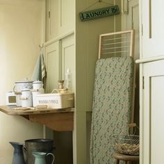Traditional green utility room