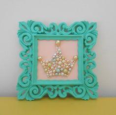 Pearl princess crown art. Mosaic wall art. Pastel pink. Teal. Painted…
