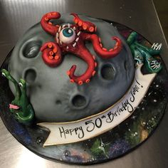 Moon Outer Space Cake  #birthday #fondant #alien #moon #knoxville #birthday  Artist: Sarah Ono Jones Magpies Bakery Knoxville, TN