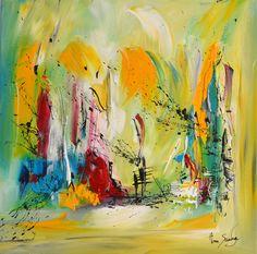 peinture abstraite contemporaine avec du vert