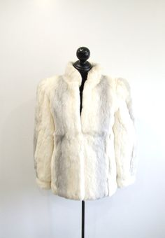 Vintage Fur Coat Ivory & Gray Genuine Rabbit by RedsThreadsVintage, $62.00