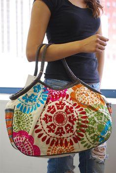 Cream Embroidered Bag