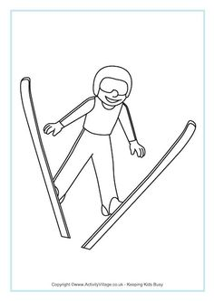 Ski Jumping Colouring Page Olympic Idea, Olympic Sports, Olympic Games, Olympic Crafts, Kids Olympics, Freestyle Skiing, Pyeongchang 2018 Winter Olympics, Ski Jumping, Colouring Pages