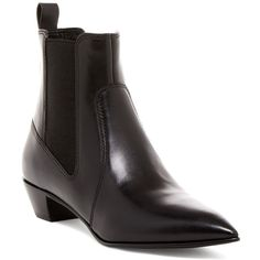 Marc by Marc Jacobs Lou Pointed Toe Chelsea Boot ($199) ❤ liked on Polyvore featuring shoes, boots, ankle booties, black, pointed-toe chelsea boots, beatle boots, chelsea bootie, pointed toe booties and block heel boots