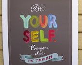 """Oscar Wilde """"Be Yourself"""" Quote Print: 11""""x14"""" Wall Art Hand-Lettered Typography Inspirational Poster"""