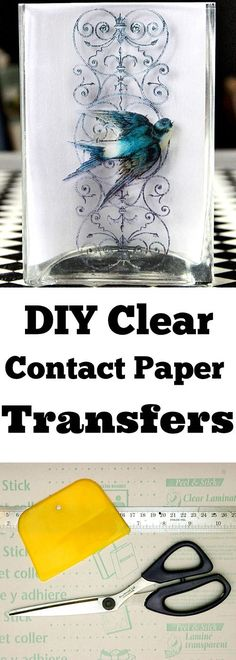 DIY Clear Contact Paper Transfers! This is such a fun Technique for transferring images, or photos, onto glass. A must try for sure!!