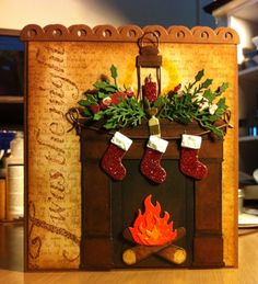 Crackers, Stockings and Lanterns on the Christmas Fireplace: Poppystamps, Memory Box and Die-namics dies