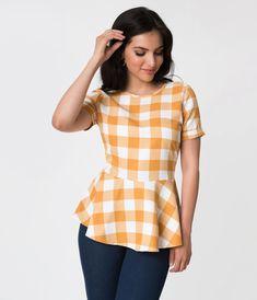 Mustard Yellow & White Checkered Print Peplum Short Sleeve Blouse