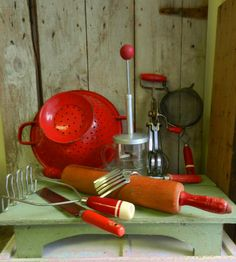 Collection of Red Retro Vintage Kitchen Utensils / Set of Eight Items