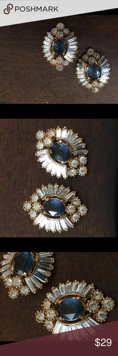 """Vintage faux diamond and sapphire clip earrings These are gorgeous vintage clip earrings with faux baguette diamonds and sapphire stones. Excellent condition. Approximately 1"""" long. Jewelry Earrings"""
