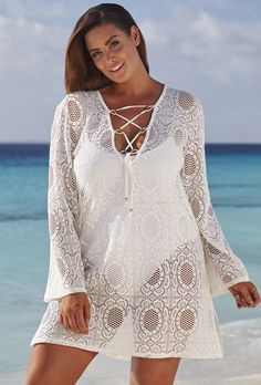 5779b82db0 swimsuitsforall Sandshell Bianca Tunic Plus Size Beach Wear, Plus Size  Cover Up, Swimsuit Cover