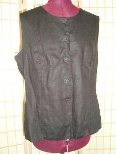 Plaza South Sz 14 Black Button Front 100% Linen Vest W/ Princess Lines #PlazaSouth