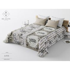 Bielo hnedý prehoz na posteľ s kvetmi