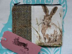 Handmade Coin Purse Small Makeup Bag Rabbit Hare Fabric Harris Tweed Cosmetic in Clothes, Shoes & Accessories, Women's Accessories, Purses & Wallets | eBay