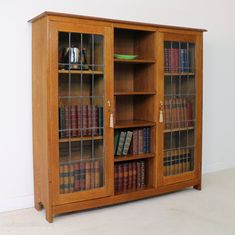 Liberty & Co Arts & Crafts Oak Bookcase Cabinet - Antiques Atlas Adjustable Shelving, Open Shelving, Shelves, Leaded Glass, Glass Door, Liberty Furniture, Honey Colour, Make Arrangements, Arts And Crafts Movement