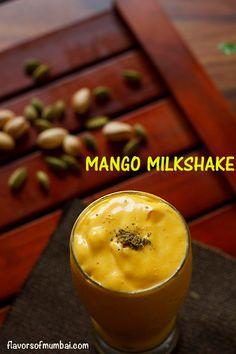 Mango Milkshake recipe with step by step photos. This is a easy peasy mango milkshake made merely with 3 ingredients is delicious. Mango Milkshake, Milkshake Recipes, Puri Recipes, Eggless Recipes, How To Make Crisps, Food To Make, Shrikhand Recipe, Chutney Sandwich, Diwali Food