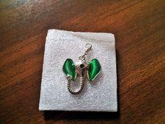 Elephant Floating Locket Dangles Living Memory Green Eared Crystal Trunk Up #Pendant