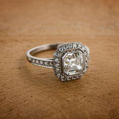 A beautiful Asscher Cut diamond Engagement Ring, set in platinum. Sold by Estate Diamond Jewelry.