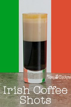 Forget the coffee mug, this Irish Coffee shot has everything you need in a much smaller vessel thanks to coffee liqueur and Irish Cream. Take it up a notch with a splash of Irish Whiskey Irish Cocktails, Spring Cocktails, Cocktail Recipes, Whiskey Recipes, Coffee Recipes, Irish Coffee, My Coffee, Coffee Drinks, Wine