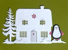 Die Cut Shapes of a Country Cottage Christmas Tree by MelAriandme