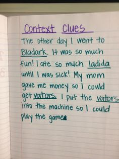 teaching context clues-such a cute idea, I want to do this with my class!!