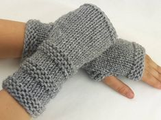 I made these gloves with soft acrylic-wool blend yarn and they measure about 9 in length. One size f Fingerless Gloves Knitted, Crochet Gloves, Knit Crochet, Poster Design, Wrist Warmers, Acrylic Wool, Mittens, Etsy, Knitting Patterns