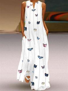 Boho White Maxi Dress with Butterflies 🦋 - vestidos casual verano - Short Beach Dresses, White Maxi Dresses, Elegant Dresses, Casual Dresses, Summer Dresses, Printed Dresses, Dresses Dresses, Dresses Online, Long Maxi Dresses
