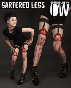 Halloween Makeup Special Effects Bloody Skin Pulling Garters