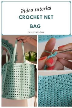 Crochet tote net bag Video tutorial by IlovecreateStore. Cotton bag crochet pattern Knit bag PDF pattern Summer tote bag pattern Easy crochet video pattern. This is a tote net bag crochet PDF pattern with complete and detailed video-description of the whole bag creating process. Skill level - easy. It will take 2-3 days to create it. The size of the bag 36*35*17 cm.