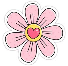 Cute pink flower with heart stickers. Sticker featuring a cartoon illustration of a pretty little pink flower with a pink heart in the center. Tumblr Stickers, Love Stickers, Printable Stickers, Planner Stickers, Griffonnages Kawaii, Cute Sticker, Bd Art, Illustration Blume, Kawaii Doodles