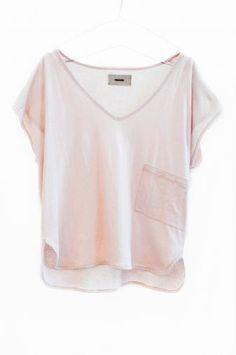 light pink v-neck loose tee shirt with front pocket