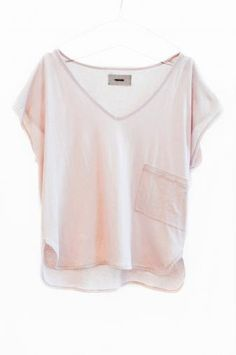 light pink v-neck loose tee shirt with front pocket