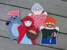 Little Red Riding Hood Felt Hand Puppet Set - Adult OR Kid Size How cute that wolf probably rides a Harley.