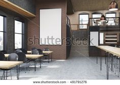 Cafe interior with posters, tables and chairs. Concept of eating outside and communication. 3d rendering, mock up