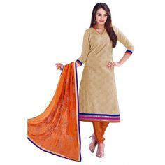 Designer Beige & Orange Straight Unstitched Churidar Suit-KRC108(ST-ROYAL CLUB)