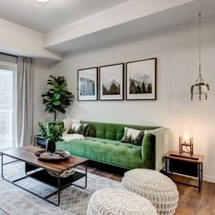 We're green with envy over this living room! Check out the 7 brand new show suites in Harvest Hills. Living Room Green, New Living Room, Living Room Sofa, Small Living, Grey Living Room With Color, Wooden Living Room Furniture, Green Velvet Sofa, Living Room Inspiration, Living Room Designs