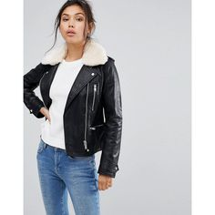 Warehouse Faux Fur Collar Leather Look Jacket ($87) ❤ liked on Polyvore featuring outerwear, jackets, black, faux fur collar biker jacket, fake leather jacket, moto jacket, asymmetrical zipper jacket and tailored jacket