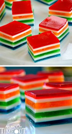 Rainbow jello cubes are a cute and easy dessert to make for the kids' school parties.