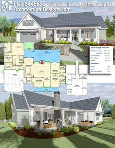 Plan 64456SC 3 Bed Modern Farmhouse With Private Master Suite