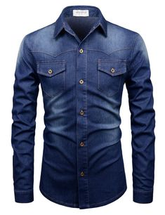 Slim Fit Stretch Denim Shirt Cotton / Polyester / Spandex 2 Chest Pockets 6 Button Machine Washable Imported Measurements (cm/in) Size Shoulder Chest Sleeve Total Length XS 94 63 70 S 42 99 64 M 44 104 65 High Fashion Men, Mens Fashion, Terno Casual, Cool Shirts, Casual Shirts, Best Smart Casual Outfits, Mode Man, Style Masculin, Mens Designer Shirts
