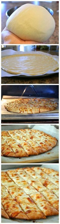 This is my favourite pizza dough! Fail-Proof Pizza Dough and Cheesy Garlic Bread Sticks - Best Healthy Italian Recipes for Dinner I Love Food, Good Food, Yummy Food, Yummy Snacks, Healthy Snacks, Cheesy Garlic Bread, Garlic Pizza, Garlic Breadsticks, Garlic Cheese Bread