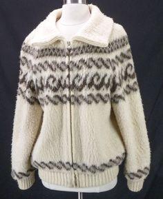 Vintage EIDER KNIT 100% Wool Furry Fuzzy Iceland Sweater Coat Nordic Jacket L #EiderKnit