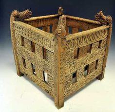 Wonderful wool basket from Kviteseid in Telemark County, Norway. Belongs to Telemark Museum