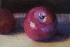 """ACEO Drawing Colored Pencil """"Plum"""" Food Fine Art Easel Art"""