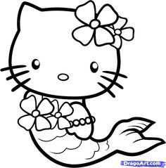 hello kitty drawings | How to Draw Mermaid Hello Kitty, Step by Step, Characters, Pop Culture ...