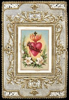 old holy card lace canivet santino merlettato SACRED HEART OF JESUS 12