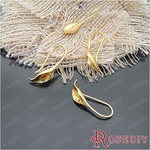(20302) 10ks 25 * 11mm zlatá farba mosadz Calla náušnice Hook DIY Šperky Nálezy šperky príslušenstvo veľkoobchod (Čína (pevninská časť))
