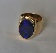Handmade Black Opal Mens Ring in 14 k solid yellow by Wishgrantor