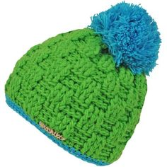 Moshiki Wool Knit Beanie Green (€32) ❤ liked on Polyvore featuring accessories, hats, wool knit hat, green hat, knit hat, beanie caps and knit pom pom hat