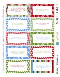 22 Free Holiday Printables - particularly cute are the lunch box jokes.
